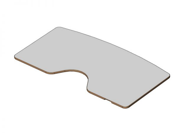 Plateau de forme ergonomique stratifié